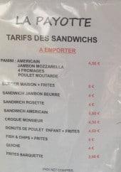 Menu La payotte - Sandwiches