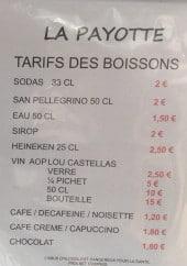 Menu La payotte - Boissons