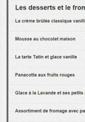 Menu Mona Lisa - La carte du soir suite