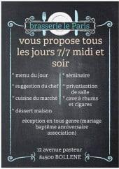 Menu Le Paris - Suggestions du jour