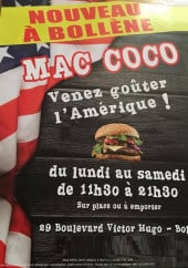 Carte et menu Snack Mac Coco Bollene