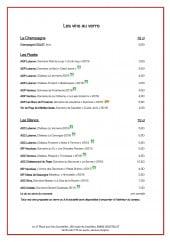 Menu Le 17 place aux vins - Les vins au verre