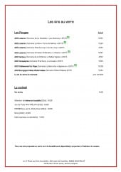Menu Le 17 place aux vins - Les vins au verre suite