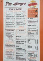 Menu Lou Burger - Les burgers, spécialités, paninis...