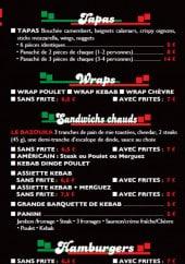 Menu La petite fringale - Tapas, wraps, burgers et frites