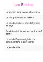 Menu L'Avant Première - Entreés, plats