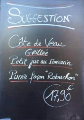 Menu Le Paris - Les suggestions du soir