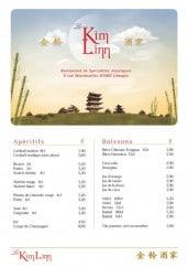 Menu Restaurant Kim Linn - Les apéritifs et boissons
