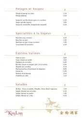 Menu Restaurant Kim Linn - Les potages , soupes, spécialités, entrées et salades