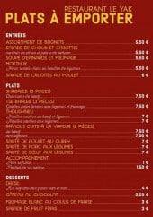 Menu Restaurant Yak - Les plats à emporter