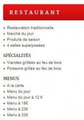 Menu Au Pied du Lion - Les spécialités et menus