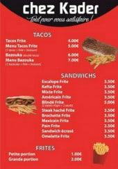 Menu Chez- kader - Tacos, sandwiches et frites