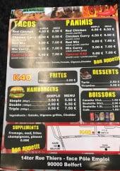 Menu K40 - Tacos, panini, frites,......