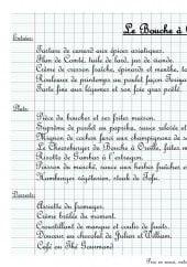 Menu Le Bouche à Oreille - Entrées, plats et desserts