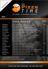 Menu Pizza Time - les pizzas