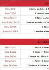 Menu Espace Pizza - Les Menus