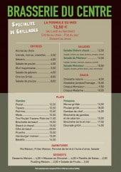 Menu Brasserie du Centre - La formule midi de la semaine