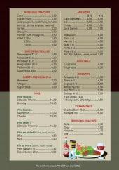 Menu Brasserie du Centre - Les boissons