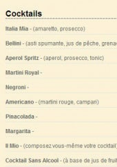 Menu Italia Mia - les cocktails