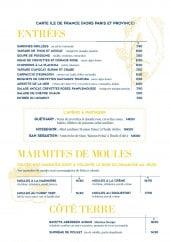 Menu La criée - Entrées, marmites de moules, côté terre,...