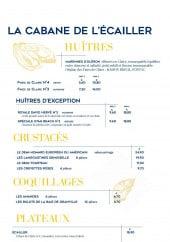Menu La criée -  Huîtres, crustacés, coquillages,...
