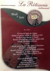 Menu La rôtisserie - Le menu tradition à 23€
