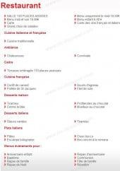 Menu Villa Médicis - information sur les menus