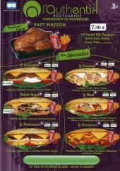 Menu L'Authentik - Les menus