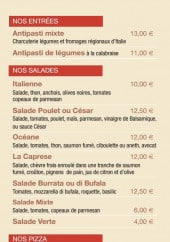 Menu Al Vecchio Forno - Les entrées, saladeset pizzas