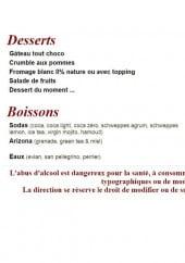 Menu Basilic - Les desserts et boissons