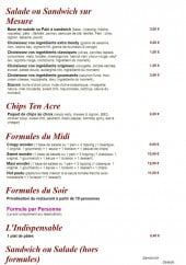 Menu Basilic - Les salades, sandwiches, chips ten acre...