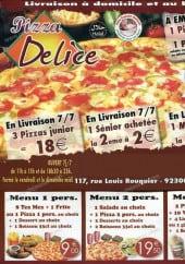 Menu Pizza Délice - offre livraisons et menus pizza
