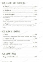 Menu The King Burger - Les burgers et formules