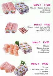 Menu Cent Sushi - Les menus 1 à 5