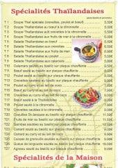 Menu Le jade royal - Les spécialités Thailandaises et de la maison