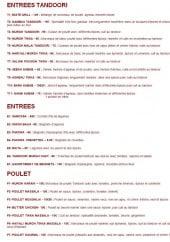 Menu Aux Saveurs de L'inde - Les entrées et poulets