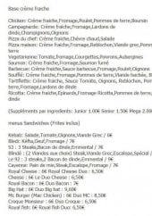 Menu Pizza des Créneaux - Les pizzas bases crèmes fraîches et sandwiches
