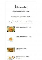 Menu SushiBar - Les plats
