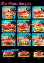 Menu Le Miami - Les burgers