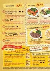 Menu Yona's - Sandwiches, burgers, tex mex et les offres
