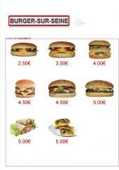 Menu Burger-Sur-Seine - Les sandwiches