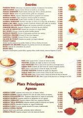 Menu Shimla - Les entrees, pains et plats principaux