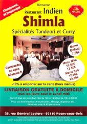 Menu Shimla - Carte et menu Shimla Rosny Sous Bois