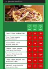 Menu Andiamo Pizza - Les pizzas traditions