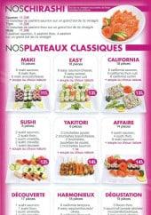 Menu Sushi Wan - Plateaux classique