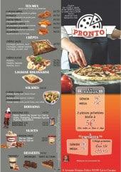 Menu Pronto - Tex mex, salades desserts et boissons