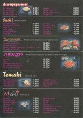 Menu So-ho - Sushi, Sashimi, chirashi, temaki et maki