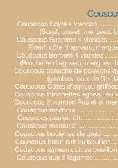 Menu L'orange bleue - Couscous