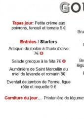 Menu Gourmet bar - Exemple de menu du jour