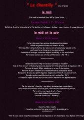 Menu Le Chantilly - Les menus